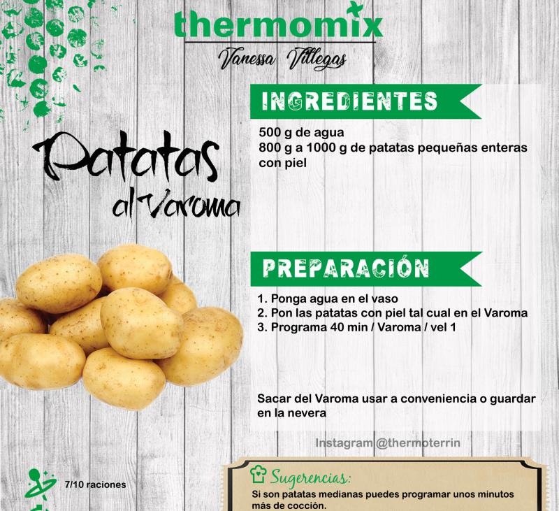 Receta Thermomix® - Patatas enteras al Vapor en Varoma - batchcooking