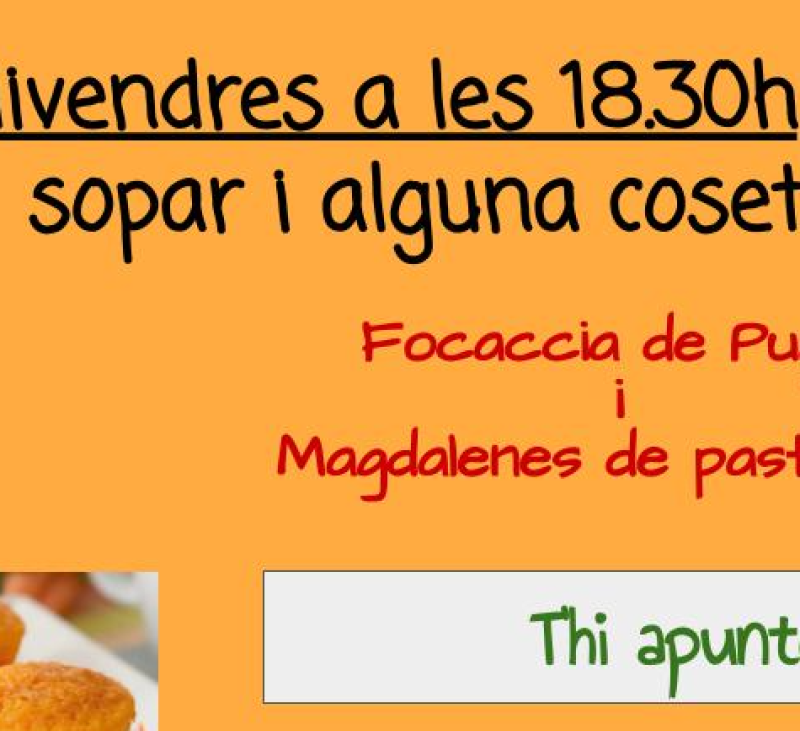 Cuinem junts: focaccia de Puglia i magdalenes de pastanaga
