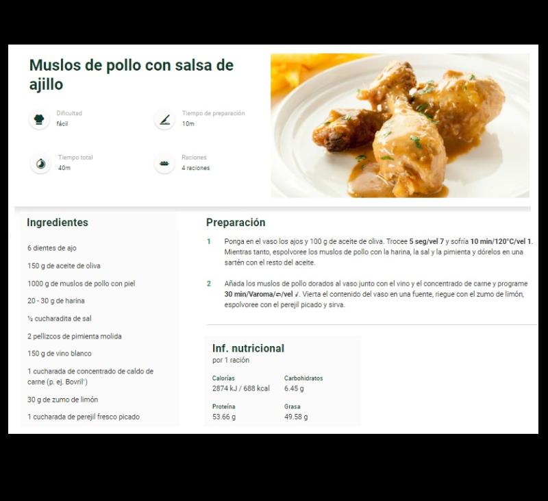Cocinar muslitos de pollo en Thermomix®