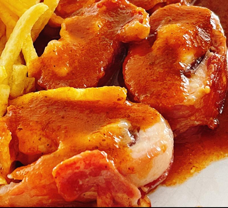 Rollos de pollo relleno con salsa agridulce en Thermomix®