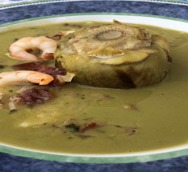 Alcachofa en su salsa con jamón y gambas con Thermomix®