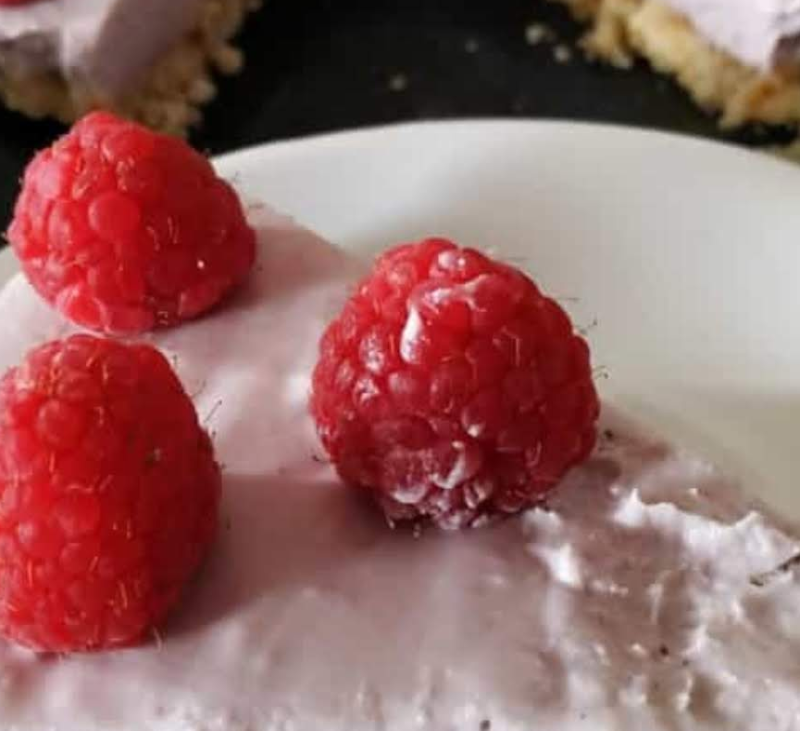 Cheesecake de frambuesas vegano