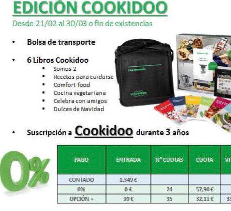 Tm6 financiada al 0% de intereses, 3 años de COOKIDOO, regalos .... es tu oportunidad