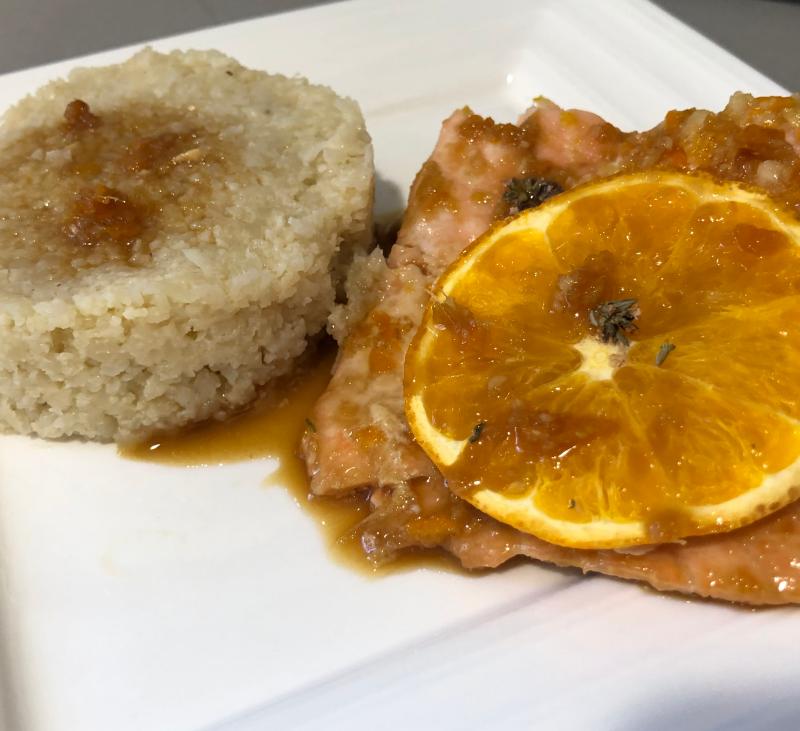 Salmón a la naranja y cuscús de coliflor con Thermomix®