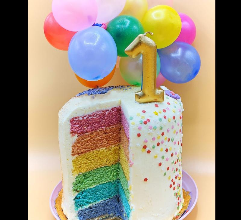 Rainbow cake (tarta arcoíris). Tarta de cumpleaños