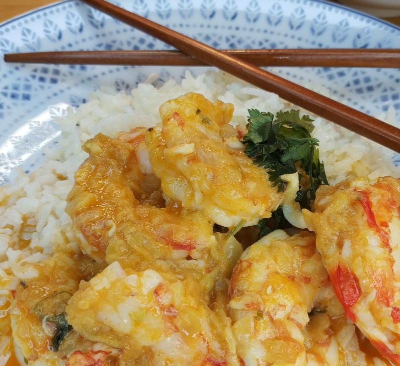 Curry de langostinos y en el Thermomix® friend hacemos arroz basmati (2 raciones)