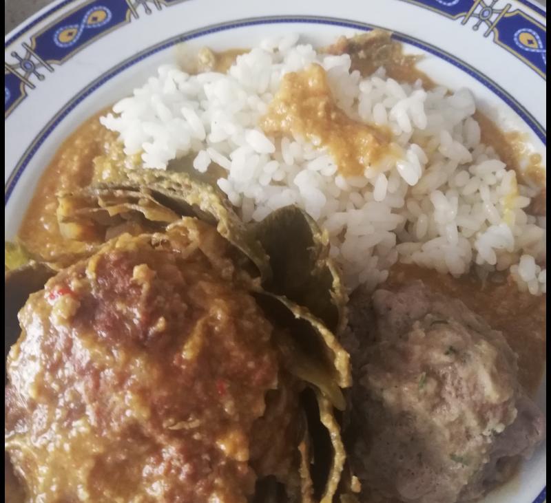Albondigones de alcachofa y arroz en Thermomix®