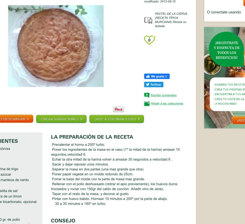 Pastel Cierva. Receta típica de Murcia