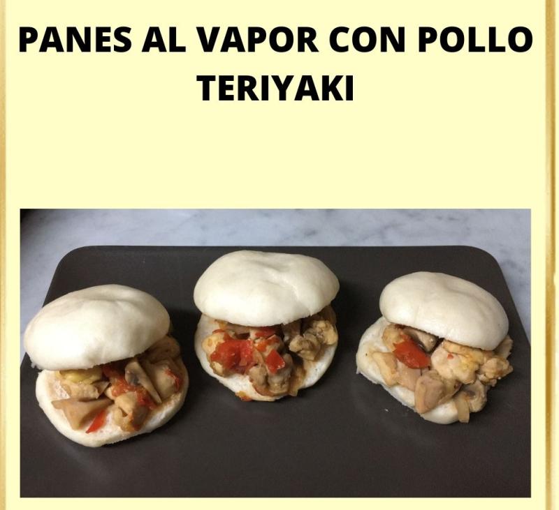 Panes al vapor con pollo teriyaki