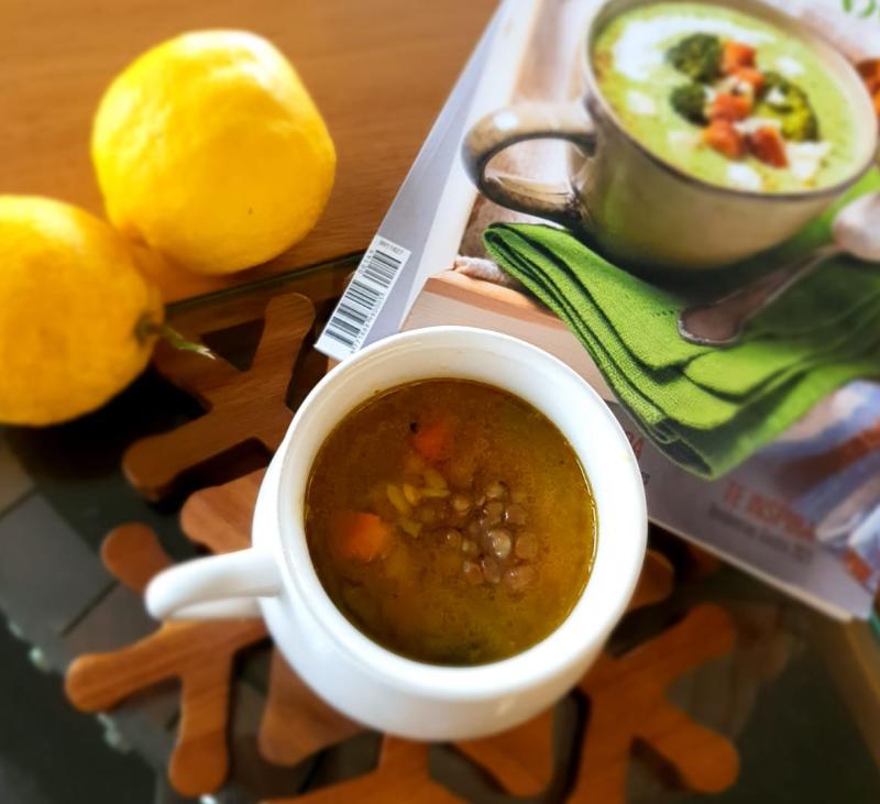 Sopa de Lentejas con Batata y Pasta