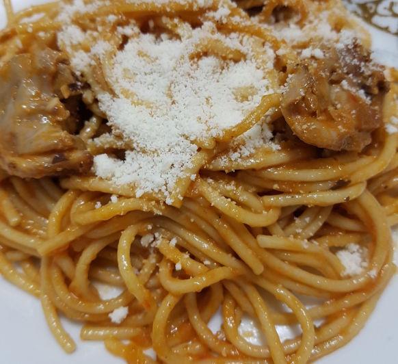 Espaguetis integrales con conejo en nuestro Thermomix®