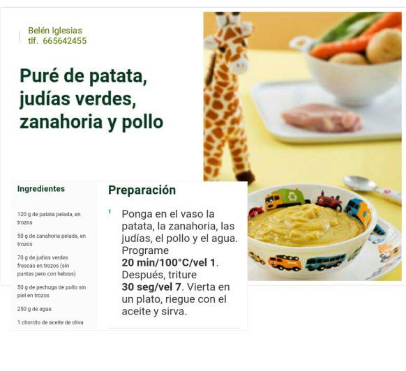 Puré de patata, judías verdes, zanahoria y pollo