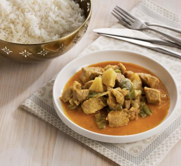 Curry de Cerdo y Arroz Blanco al Vapor con Thermomix®