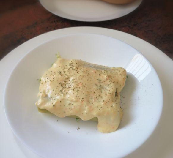 Canelones de brocoli y queso de cabra