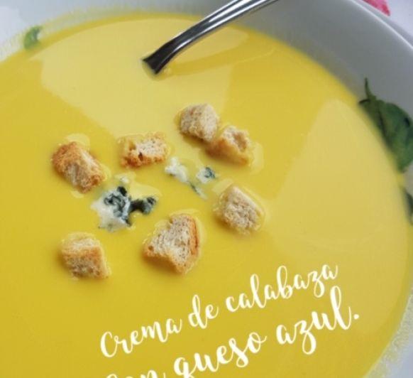 Crema de calabaza con queso azul o roquefort