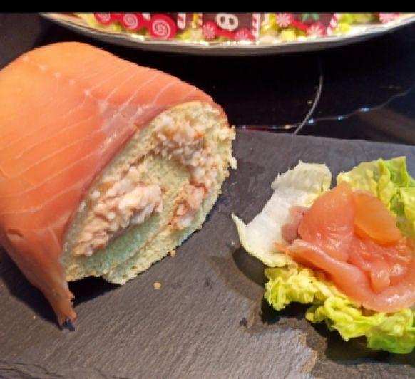 Brazo de gitano de gambas y salmón