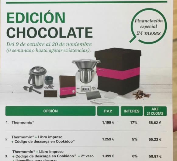 Thermomix® CON EDICIÓN DE CHOCOLATE Y CON UN 0 %DE INTERÉS. INCREÍBLEEEEE