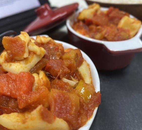 #tm6lover sepia en salsa de pimiento rojo con arroz blanco